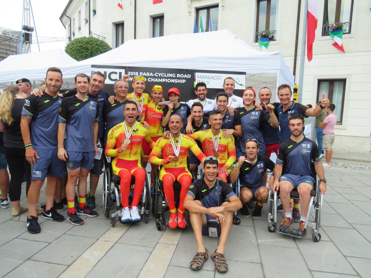 Noel Martín y Adolfo Bellido, bronce en el Mundial de Ciclismo Adaptado 2018. / FEDEACYL